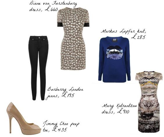 Flannels, UK Burberry fashion, Markus Lupfer, Jimmy Choo
