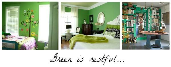 green decor, restful, Pinterest
