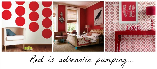 Red rooms, energy levels, Pinterest