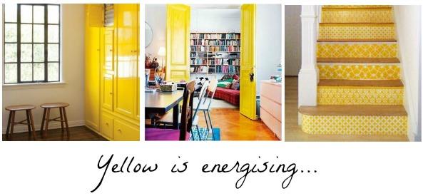 yellow decor, pinterest, energising