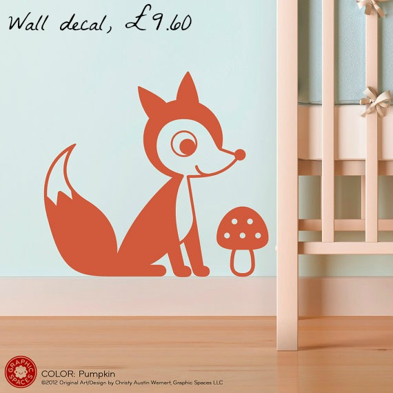 fox decor, fox wall sticker