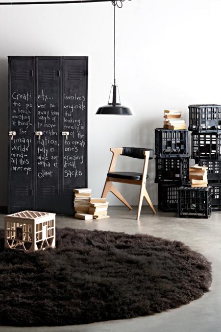 Black lockers as a wardrobe