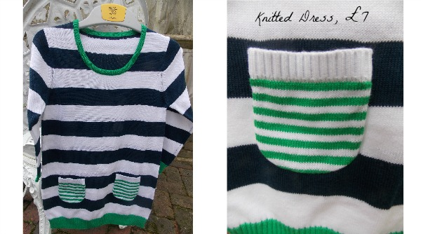 Stripey jumper dress for girls, Matalan