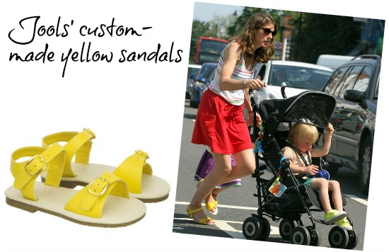 Jools Oliver Has Yellow Sandals Made In Her Size