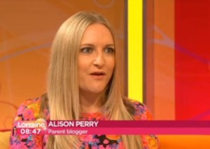 Award winning parent blogger Alison Perry appears on Lorraine