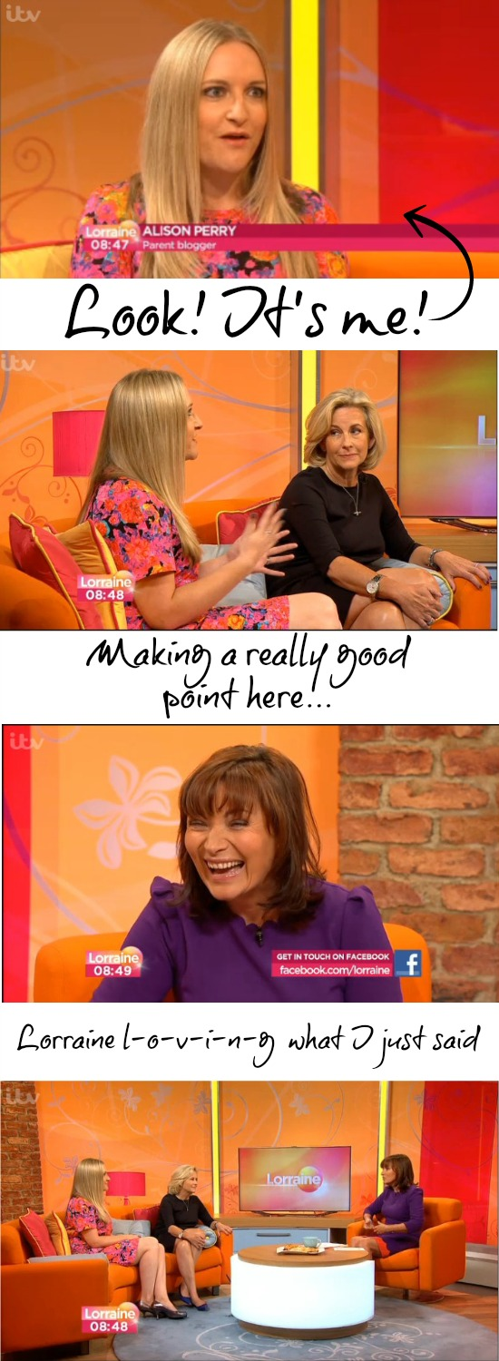 Award-winning parent blogger Alison Perry on Lorraine Kelly's ITV1 TV show