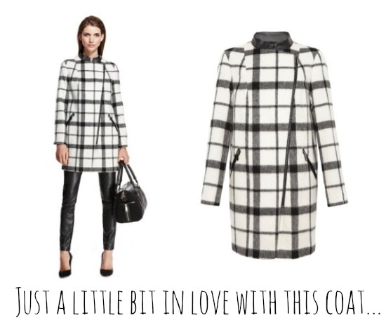 Marks and Spencer black and white check coat 2013