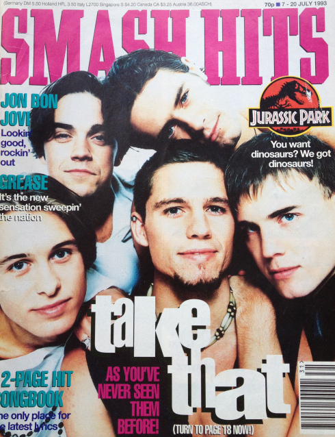 Take That on the cover of Smash hits magazine