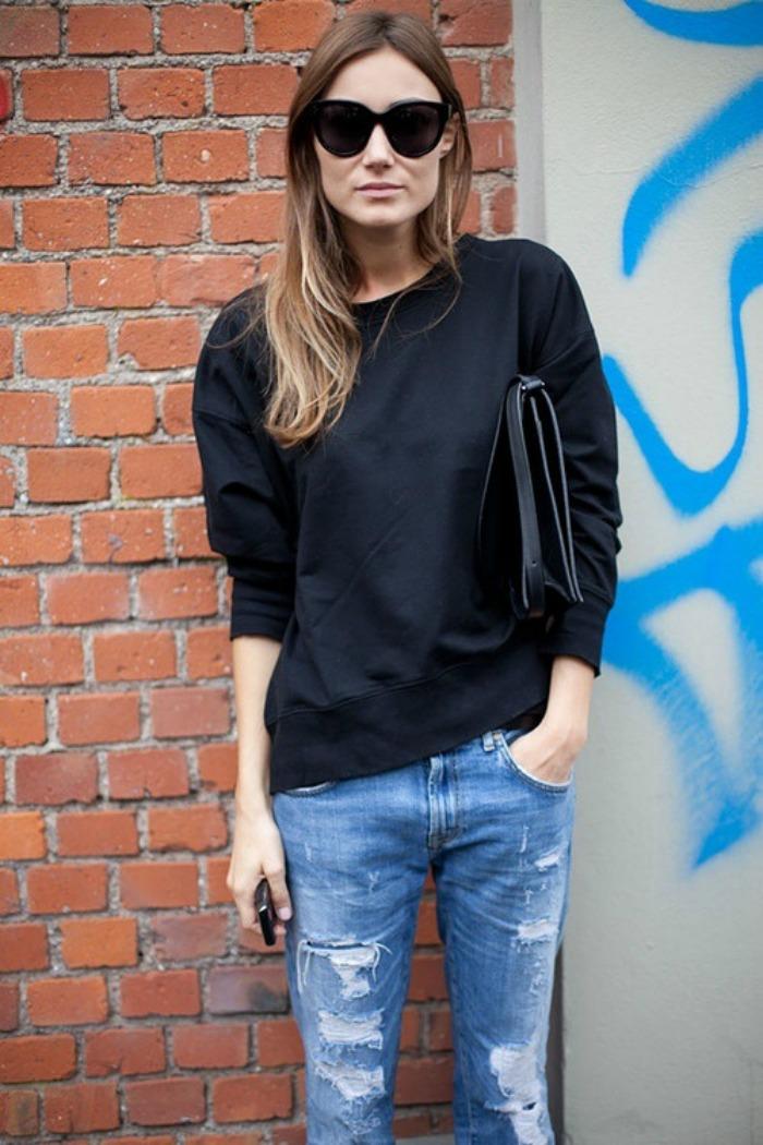 Black sweatshirt, jeans, clutch