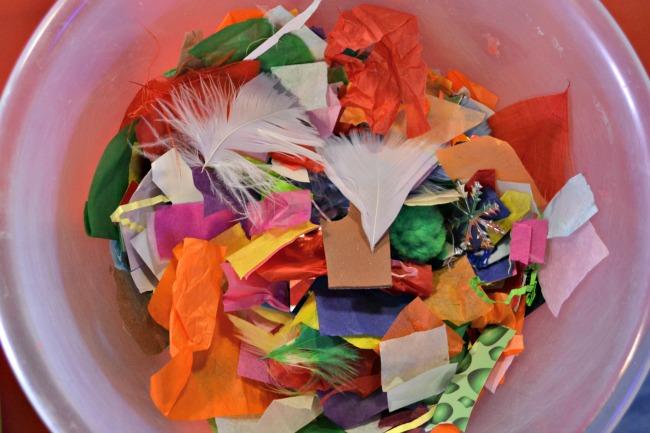 Bowl of craft materials