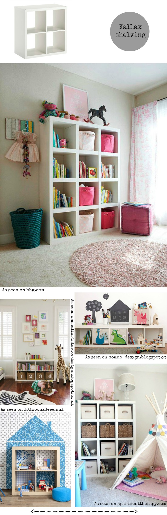 Different ways to use the Kallax / Expedit shelving from Ikea for a kids' bedroom