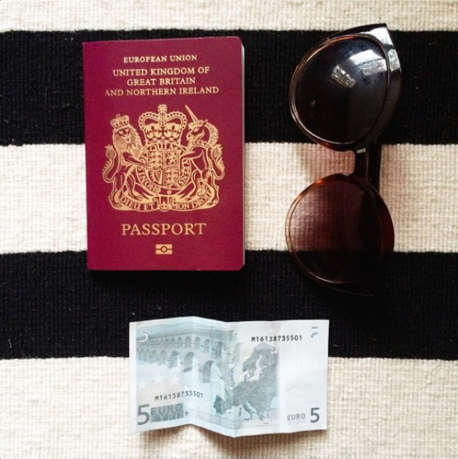 Got my passport, euros, sunglasses! Let's go!