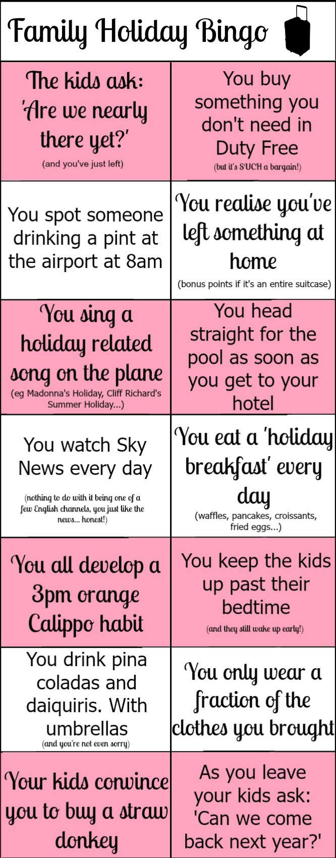Play Family Holiday Bingo!