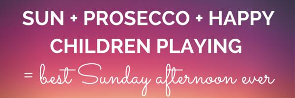 Sun + prosecco + happy children playing